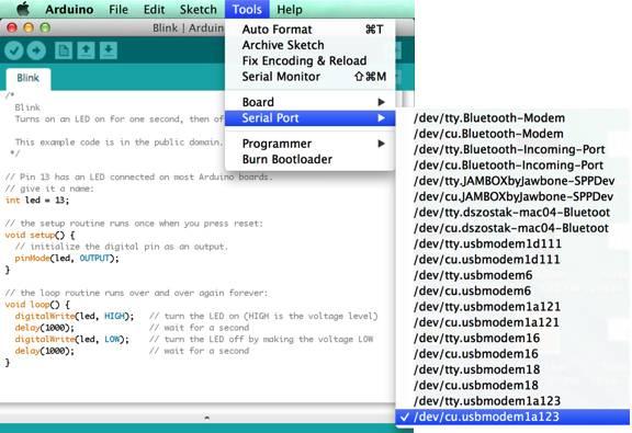 Find serial port - Mac | Arduino IDE
